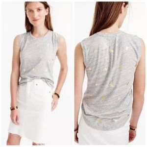 J. Crew Grey T-Shirt with Gold Bananas, Size Large